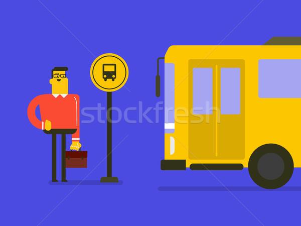Kafkas adam bekleme otobüs otobüs durağı beyaz Stok fotoğraf © RAStudio