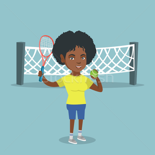 African tennis player holding racket and ball. Stock photo © RAStudio