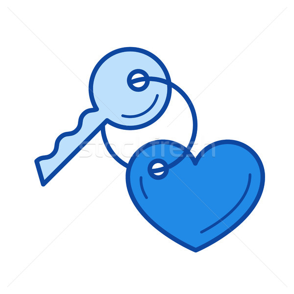 Key with a trinket in the shape of heart line icon Stock photo © RAStudio