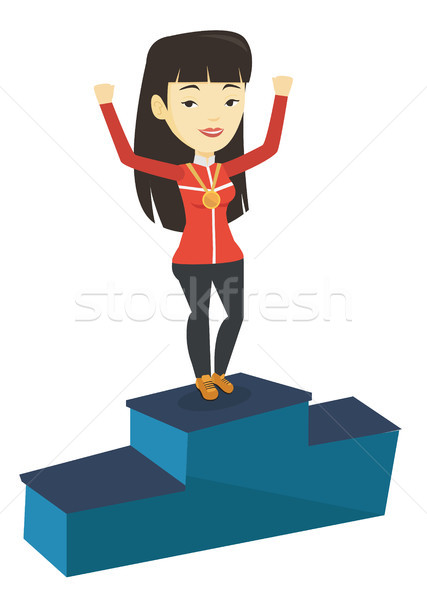 Sportswoman celebrating on the winners podium. Stock photo © RAStudio