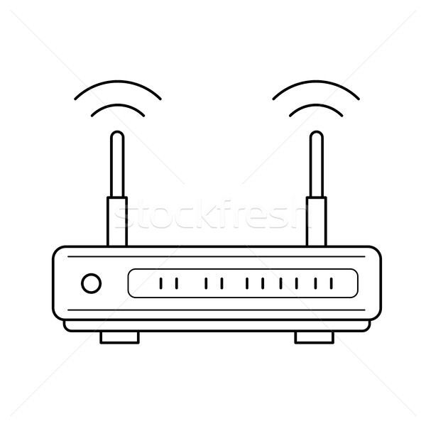 Wifi router lijn icon vector geïsoleerd Stockfoto © RAStudio
