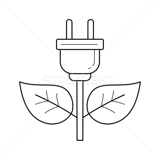 Energia plugue vetor linha ícone isolado Foto stock © RAStudio