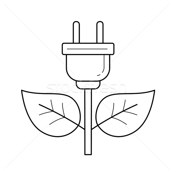Enerji fiş vektör hat ikon yalıtılmış Stok fotoğraf © RAStudio