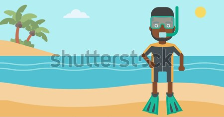 Caucasian man on the background of swimming pool. Stock photo © RAStudio