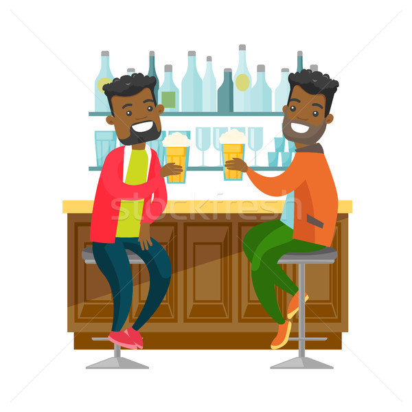 African-american friends drinking beer in a bar. Stock photo © RAStudio