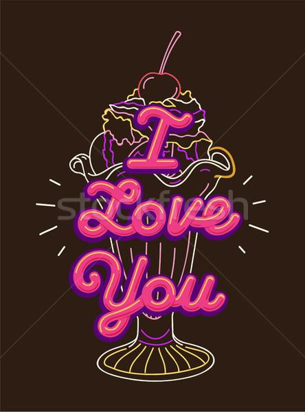 I love you t-shirt print and embroidery Stock photo © RAStudio