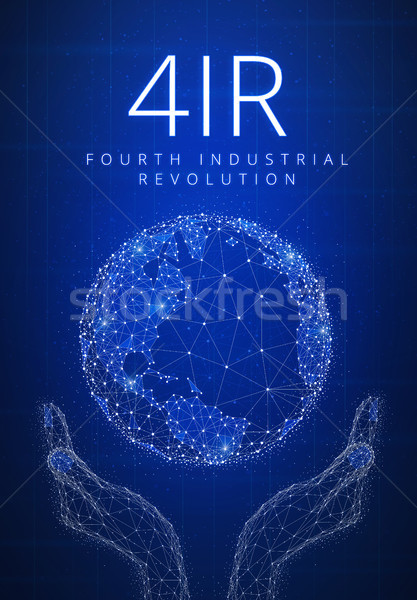 Fourth industrial revolution futuristic hud banner with globe in Stock photo © RAStudio