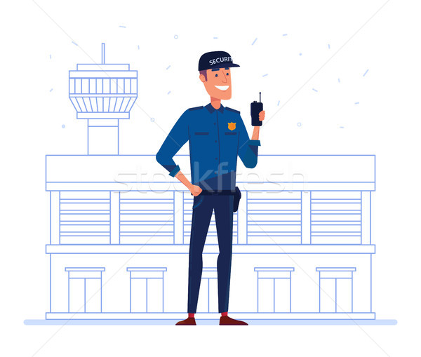Security company employee with portable radio in front of airport building. Stock photo © RAStudio