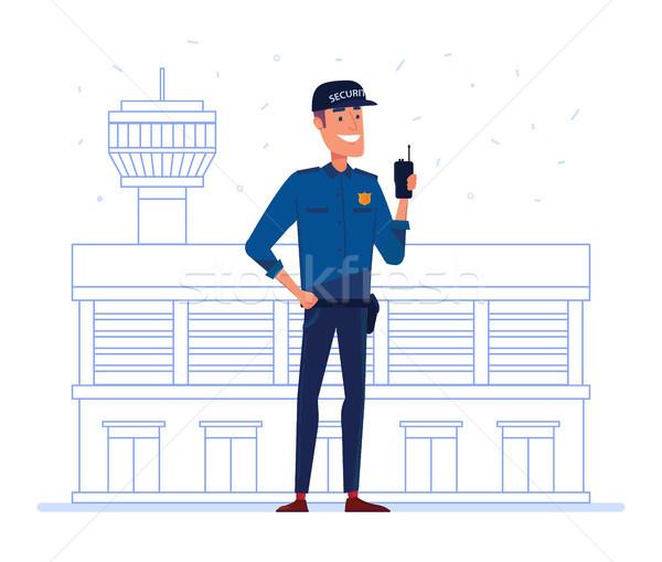 безопасности компания сотрудник портативный радио аэропорту Сток-фото © RAStudio