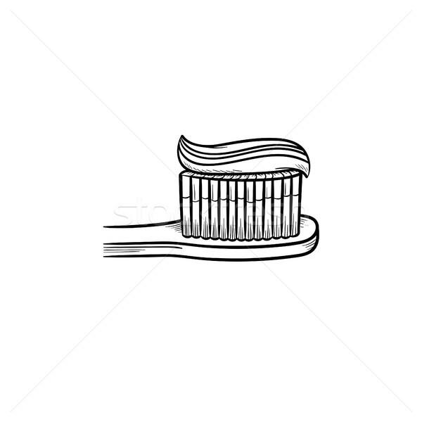 Creme dental escova de dentes rabisco ícone Foto stock © RAStudio
