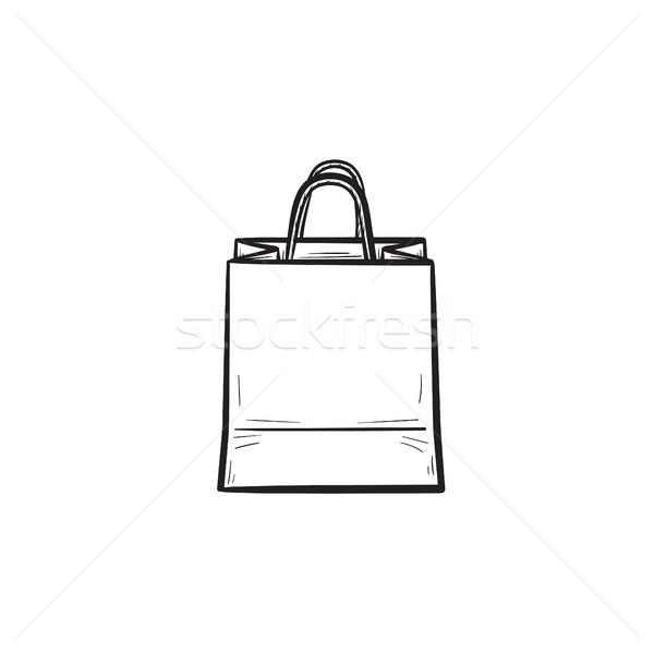 Shopping bag contorno doodle icona mall Foto d'archivio © RAStudio