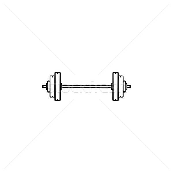 штанга рисованной болван икона тяжелая атлетика Сток-фото © RAStudio