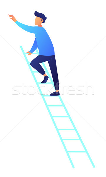 Businessman climbing up the ladder vector illustration. Stock photo © RAStudio