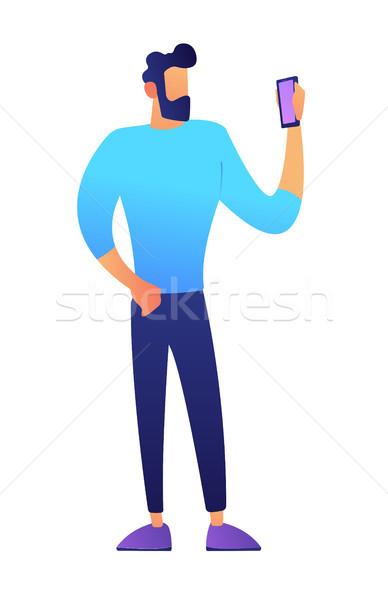 Businessman looking at smartphone vector illustration. Stock photo © RAStudio