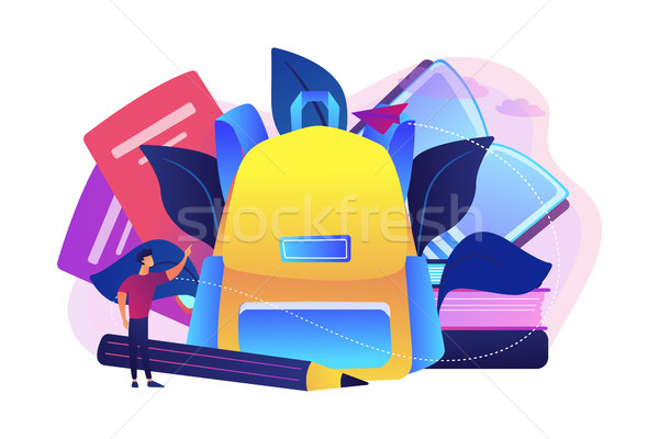 Sac à dos livres ordinateurs portables crayon Photo stock © RAStudio