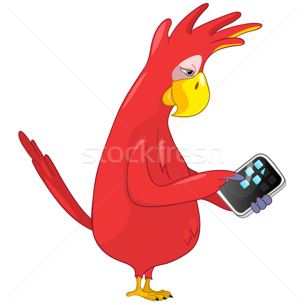 Funny Parrot. Tablet User . Stock photo © RAStudio