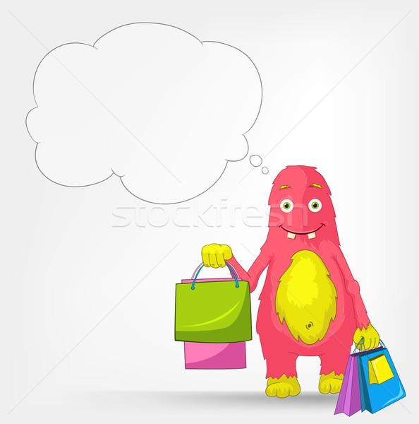 Stockfoto: Grappig · monster · winkelen · geïsoleerd · grijs