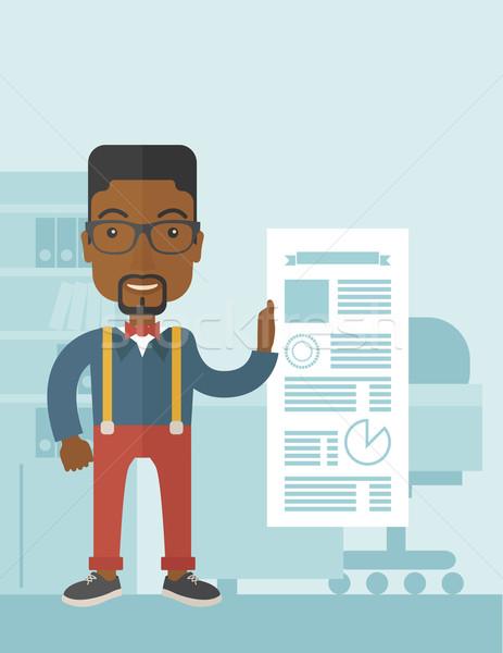 Black man happy standing inside his office. Stock photo © RAStudio