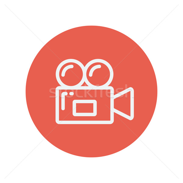 Videókamera vékony vonal ikon háló mobil Stock fotó © RAStudio