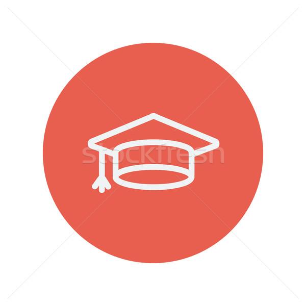 Graduation cap thin line icon Stock photo © RAStudio