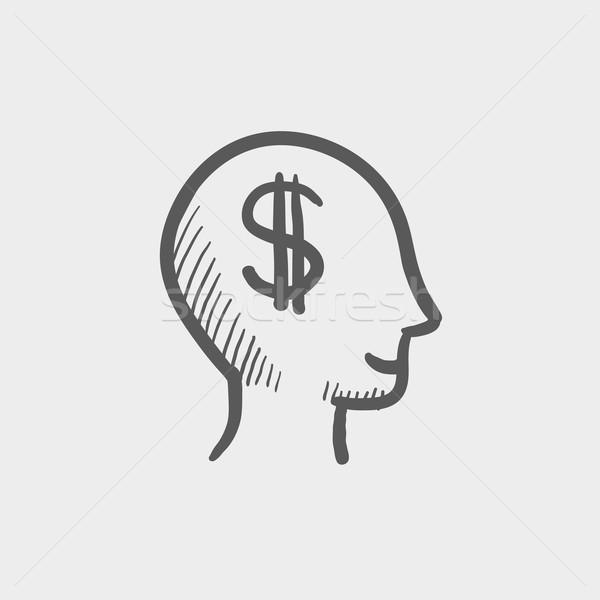 Stockfoto: Hoofd · dollar · symbool · schets · icon · web