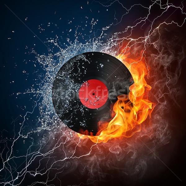 Lemez tűz számítógépes grafika dizájn elem zene tánc Stock fotó © RAStudio