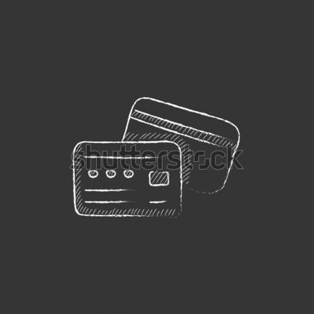бумажник деньги икона мелом рисованной Сток-фото © RAStudio