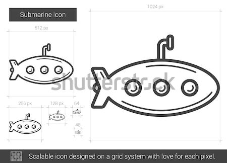 Tengeralattjáró ikon rajzolt kréta kézzel rajzolt iskolatábla Stock fotó © RAStudio