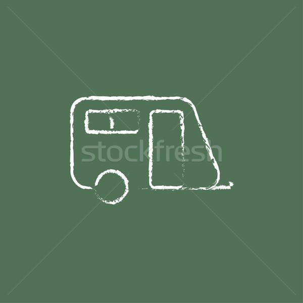Pulling cab icon drawn in chalk. Stock photo © RAStudio