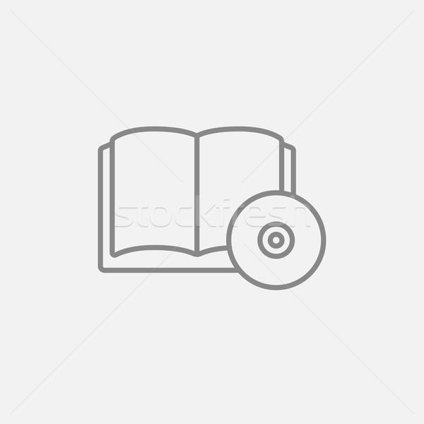 компакт-диск диска линия икона веб мобильных Сток-фото © RAStudio