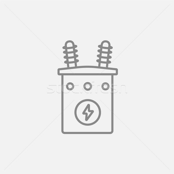 Nagyfeszültség transzformátor vonal ikon háló mobil Stock fotó © RAStudio