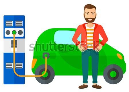 Elektrische auto vrouw vector ontwerp illustratie geïsoleerd Stockfoto © RAStudio