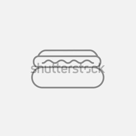 хот-дог линия икона веб мобильных Инфографика Сток-фото © RAStudio