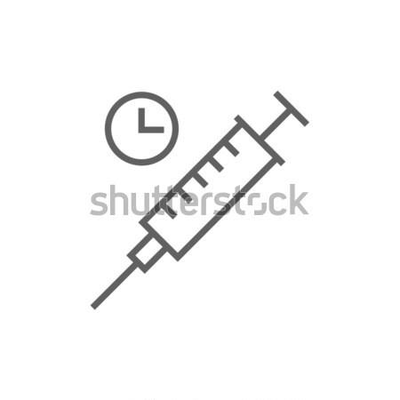 Seringue ligne icône horloge web mobiles Photo stock © RAStudio