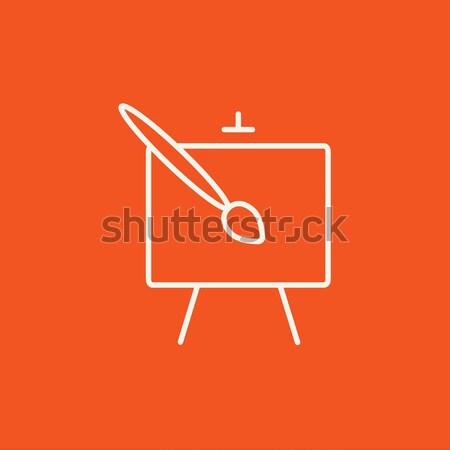 Festőállvány ecset vonal ikon háló mobil Stock fotó © RAStudio