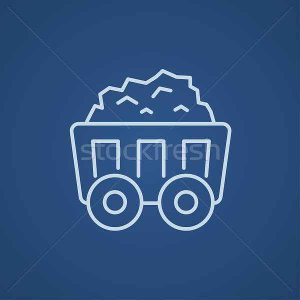 Mining coal cart line icon. Stock photo © RAStudio