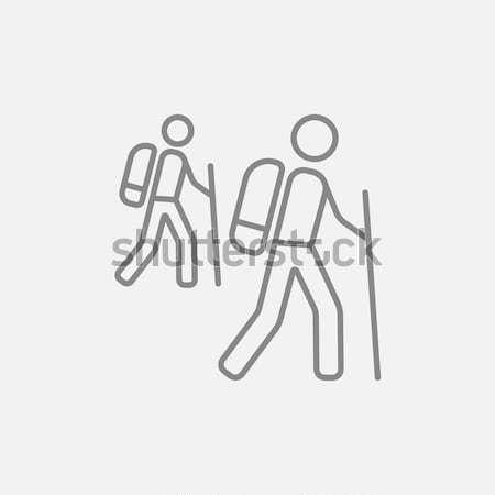 Turistica backpackers line icona web mobile Foto d'archivio © RAStudio