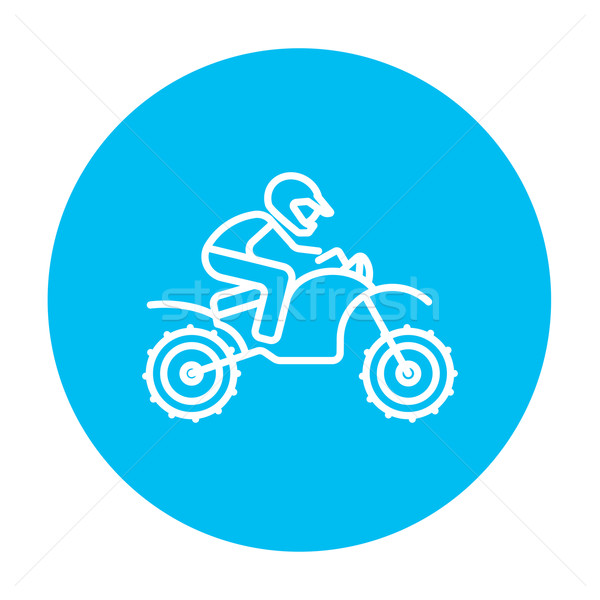 Man riding motocross bike line icon. Stock photo © RAStudio
