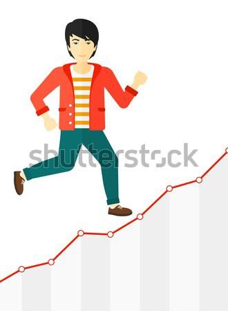 Zakenman lopen naar boven vrolijk lopen groei Stockfoto © RAStudio