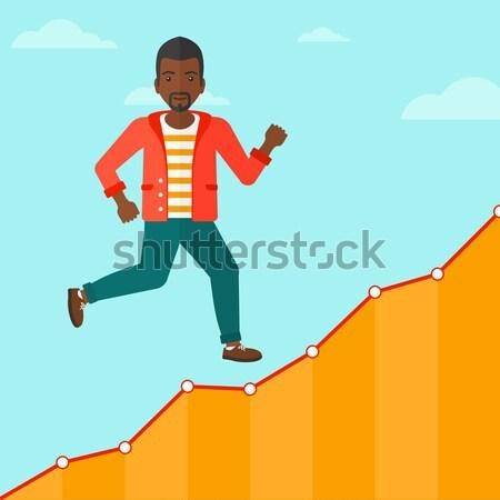 Zakenman lopen naar boven lopen groei grafiek Stockfoto © RAStudio