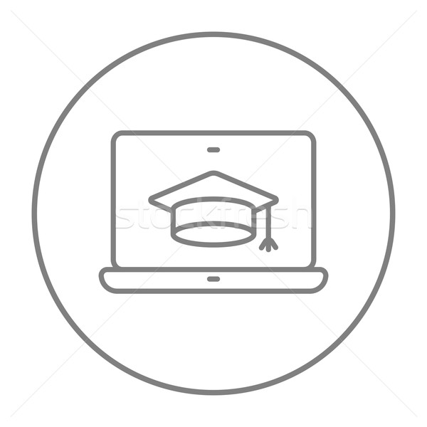 Stockfoto: Laptop · afstuderen · cap · scherm · lijn · icon