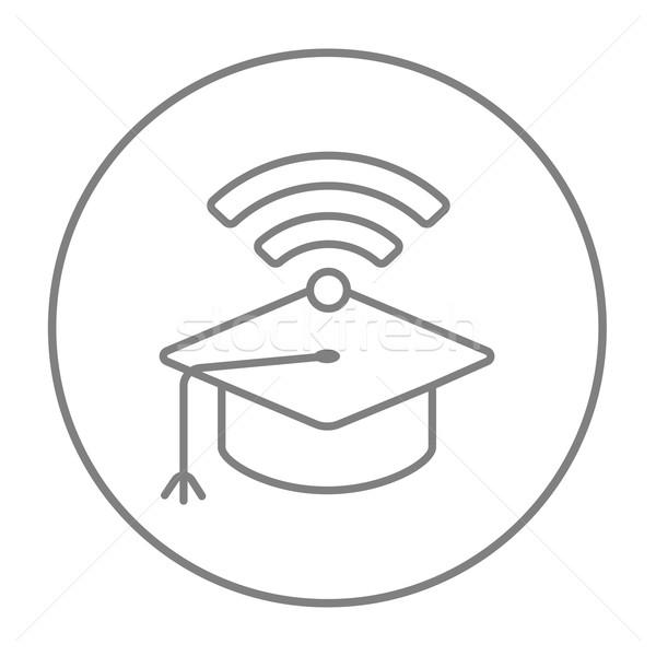 Afstuderen cap wifi teken lijn icon Stockfoto © RAStudio