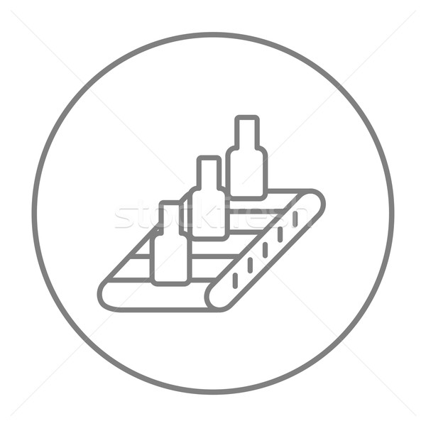 Conveyor belt system line icon. Stock photo © RAStudio