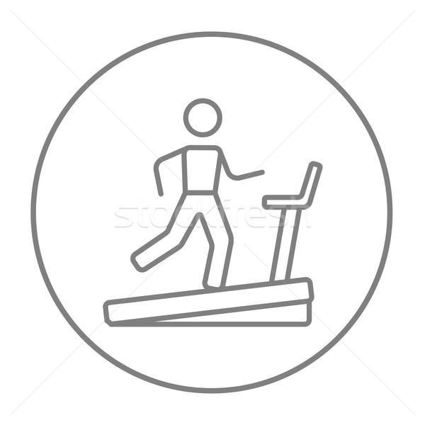 Man running on treadmill line icon. Stock photo © RAStudio