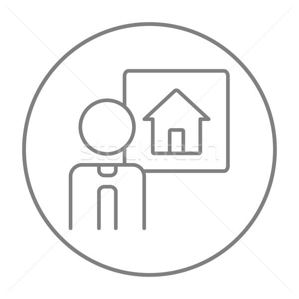 линия икона веб мобильных Инфографика Сток-фото © RAStudio