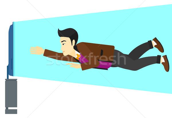 Adam tv bağımlılık Asya uçan Stok fotoğraf © RAStudio