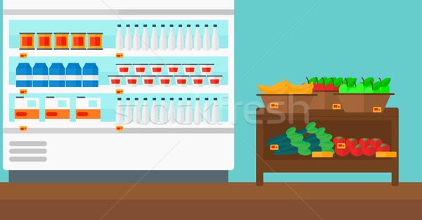 áruház polcok termékek vektor terv illusztráció Stock fotó © RAStudio