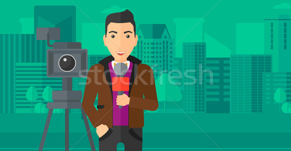 TV reporter working. Stock photo © RAStudio