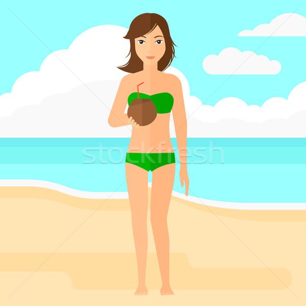 女性 飲料 カクテル ココナッツミルク 砂 ビーチ ストックフォト © RAStudio