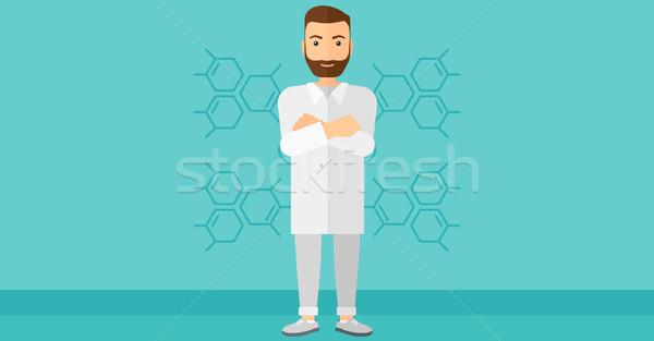 мужчины лаборатория помощник синий молекулярный структуры Сток-фото © RAStudio